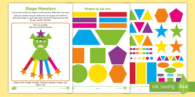 Making Monsters With Shapes Worksheets : Shape monsters worksheet activity sheet ni ks