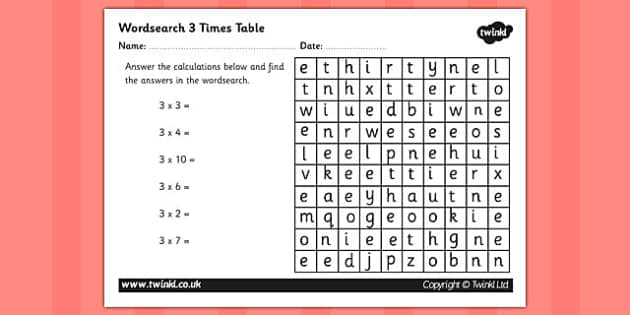 Multiplication 3 Times Tables Wordsearch Worksheet – 3 Times Tables Worksheets