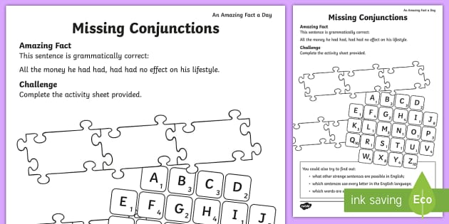 Missing Conjunctions Worksheet Worksheet Amazing Fact