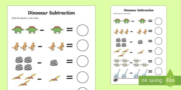 dinosaur themed subtraction sheet subtract take away. Black Bedroom Furniture Sets. Home Design Ideas