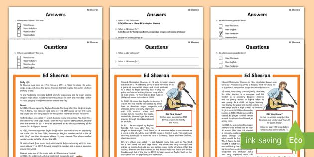 KS2 Ed Sheeran Differentiated Reading Prehension Activity