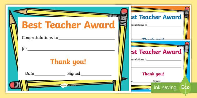 certificate teacher award resource sign save