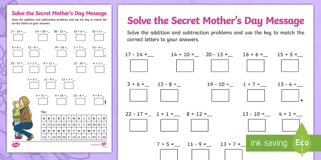 mother 39 s day addition and subtraction secret message worksheet. Black Bedroom Furniture Sets. Home Design Ideas
