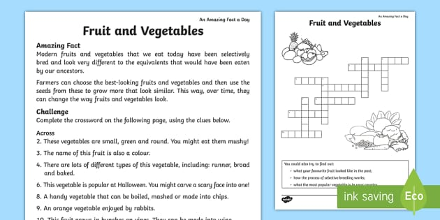Fruits And Vegetables Crossword Teacher Made