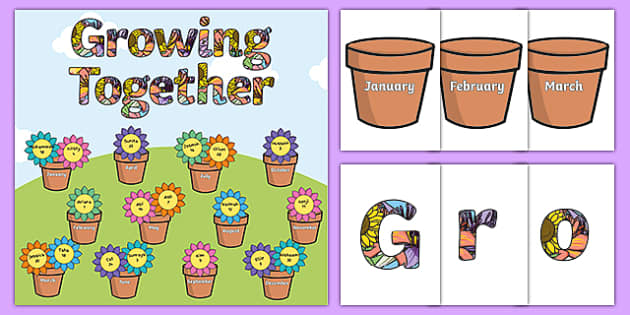 Growing Together Pot Plant Birthday Chart Pack