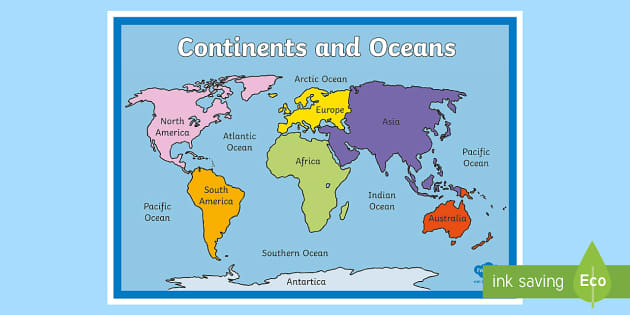 Continents and Oceans Map countries world map globe Earth
