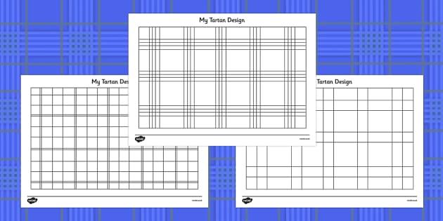 Design Your Own Tartan Colouring Sheets