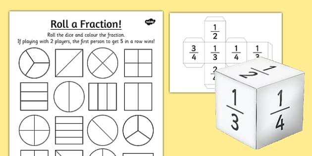 year 2 roll a fraction worksheet worksheet activities fractions. Black Bedroom Furniture Sets. Home Design Ideas