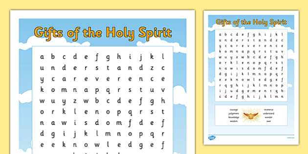 the gifts of the holy spirit word search. Black Bedroom Furniture Sets. Home Design Ideas