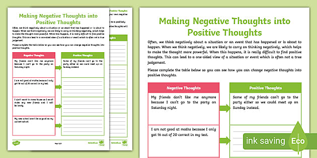 Free Making Negative Thoughts Into Positive Thoughts Worksheet