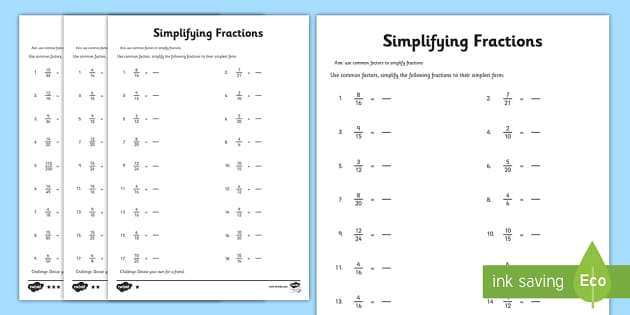 ks2 simplifying fractions worksheet primary resources. Black Bedroom Furniture Sets. Home Design Ideas