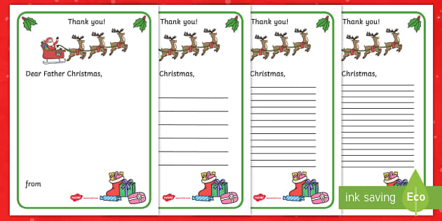thank you letter to father christmas writing template