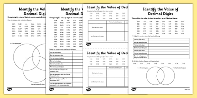identify the value of decimal digits worksheet activity sheet. Black Bedroom Furniture Sets. Home Design Ideas