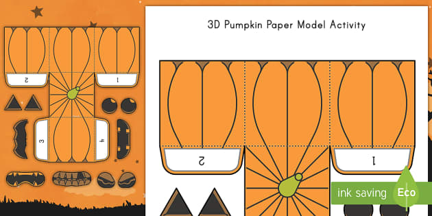 Simple Make Your Own 3D Pumpkin Paper Craft Activity