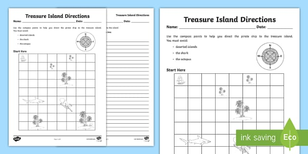 treasure island directions instruction writing worksheet. Black Bedroom Furniture Sets. Home Design Ideas