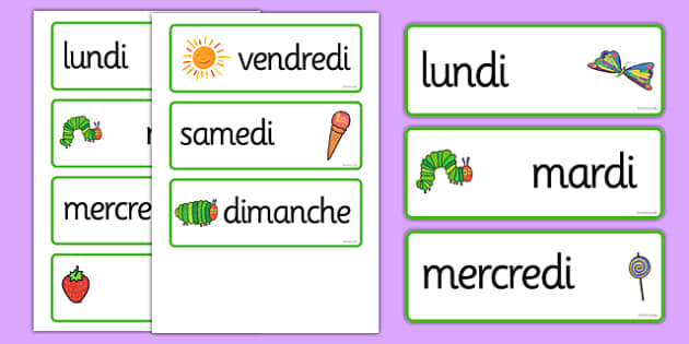 the very hungry caterpillar days of the week cards french. Black Bedroom Furniture Sets. Home Design Ideas