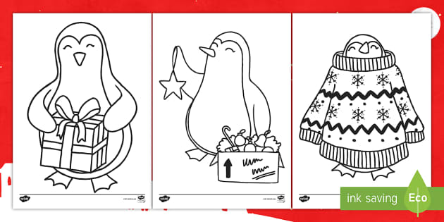 t t christmas penguin colouring pages english ver 2