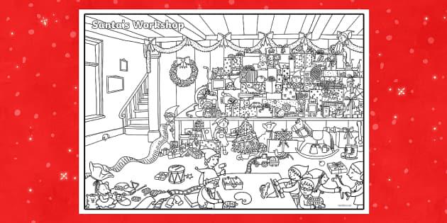 free santa workshop coloring pages - photo#15
