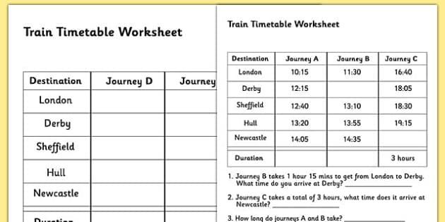 train timetable worksheet timetables reading timetables. Black Bedroom Furniture Sets. Home Design Ideas