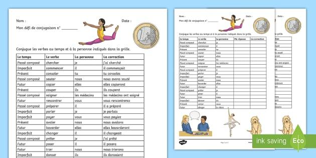 Defi De Conjugaison Les Verbes En Er Teacher Made