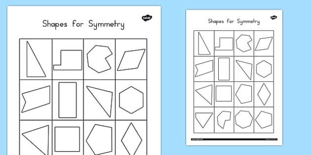 Shapes For Symmetry Worksheet Activity Sheet Australia