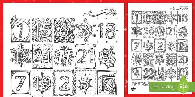 Mindfulness Elegant Christmas Advent Calendar Colouring Page