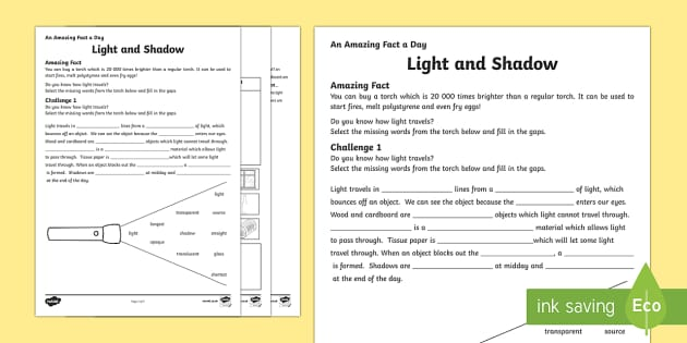 Ks2 Light And Shadows Worksheet