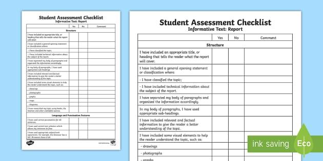 student self assessment checklist pdf