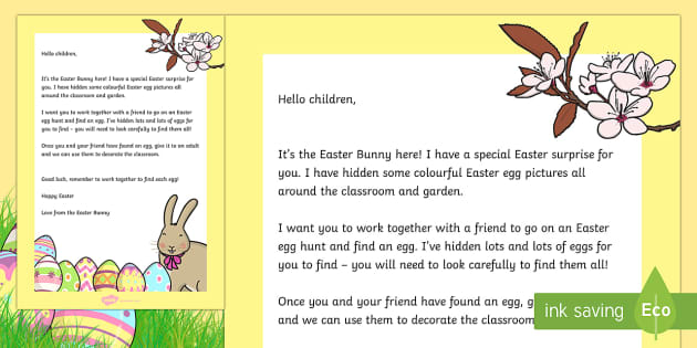 Letter from the easter bunny eyfs early years easter for Letter to easter bunny template