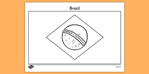 brazilian flag coloring page - brazil a4 colouring flag geography flags country