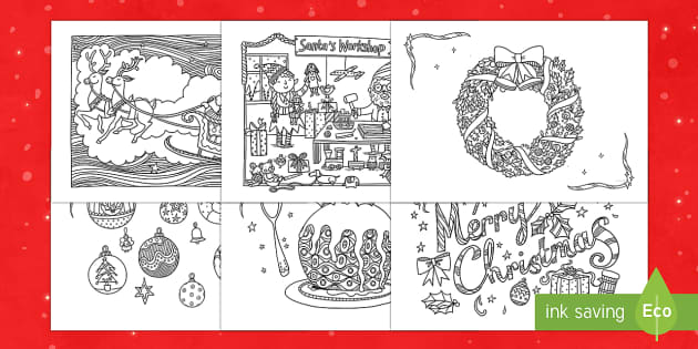 Xmas Pictures to Colour In - Teaching Resources