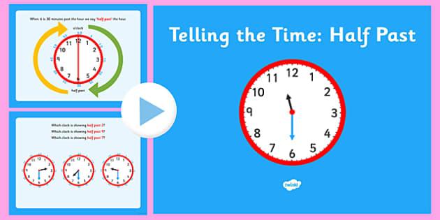telling the time half past telling time half past half past clock. Black Bedroom Furniture Sets. Home Design Ideas