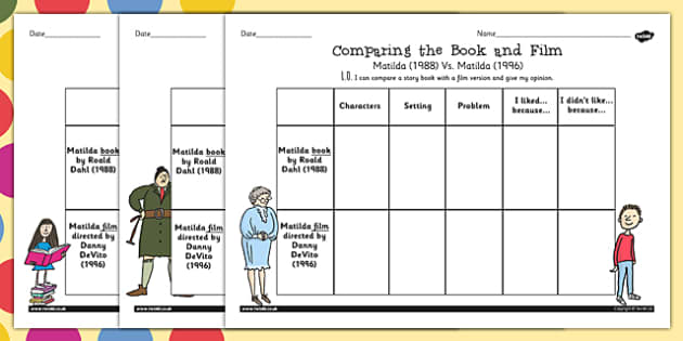 Free Comparing The Book And Film Worksheet