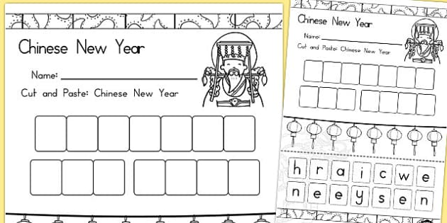 cut paste chinese new year sentence worksheet activity sheet. Black Bedroom Furniture Sets. Home Design Ideas