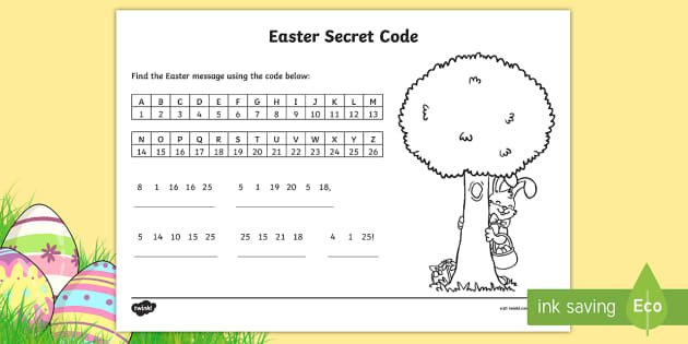 Easter Secret Code Activity - codes, numbers, letters