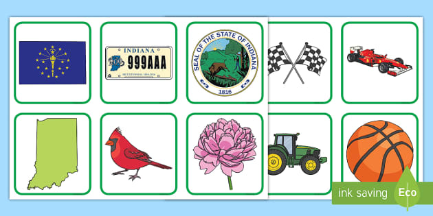 Indiana State Symbols Pairs Matching Game Memory Game Center