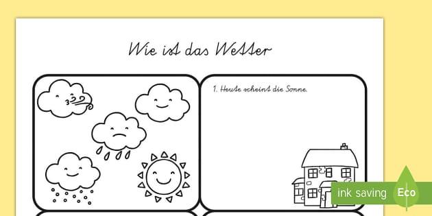wie ist das wetter arbeitsblatt draw the weather worksheet. Black Bedroom Furniture Sets. Home Design Ideas
