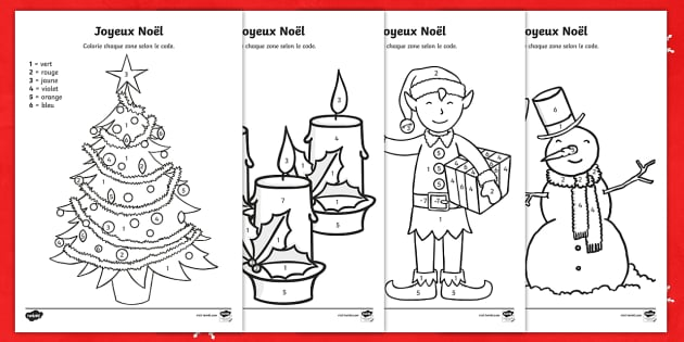 Merry Christmas Colour by Number-French - KS2, French ...