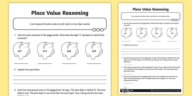 place value two digit reasoning worksheet activity sheet. Black Bedroom Furniture Sets. Home Design Ideas