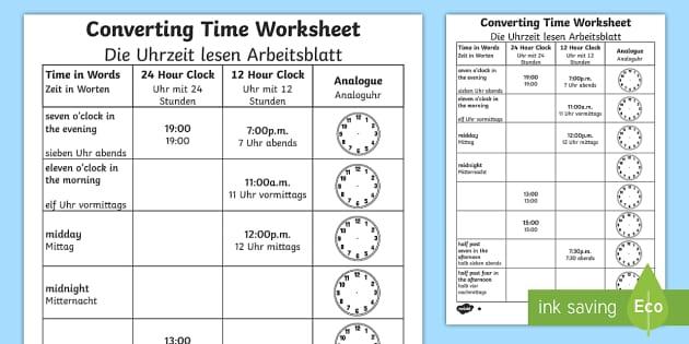 Converting Time Worksheet / Activity Sheet English/German