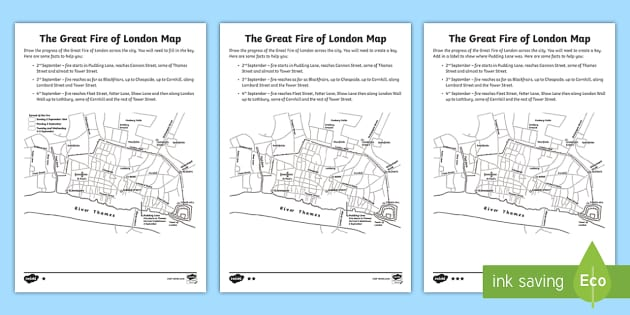 Ks2 The Great Fire Of London Map Differentiated Activity Sheets