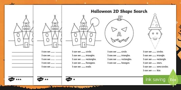 halloween 2d shape search worksheet activity sheet. Black Bedroom Furniture Sets. Home Design Ideas