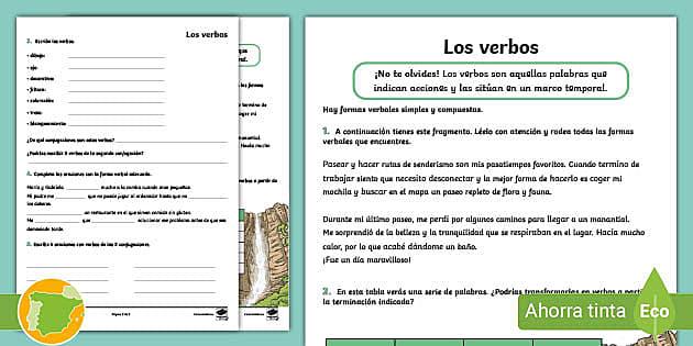 Ficha De Actividad Los Verbos 6º De Primaria