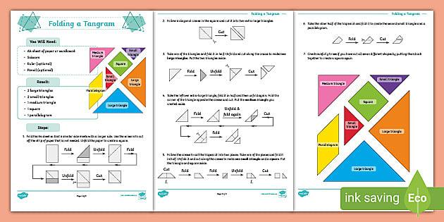 fold and cut tangram instructions teacher made