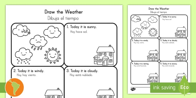 draw the weather worksheet activity sheet us english spanish. Black Bedroom Furniture Sets. Home Design Ideas