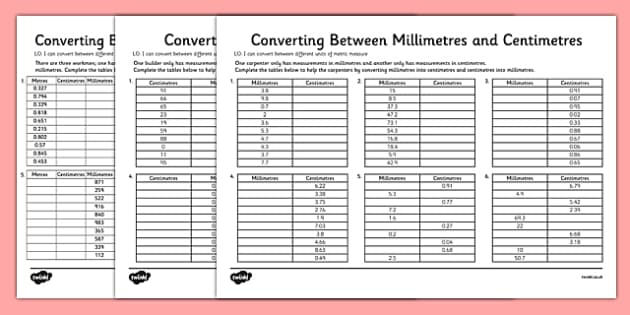 Converting Between Centimetres And Metres And Millimetres