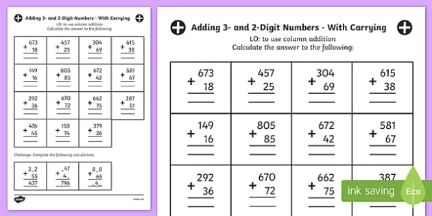 Adding 3 And 2 Digit Numbers In A Column With Carrying Answers Worksheet Digit column addition worksheets ks2