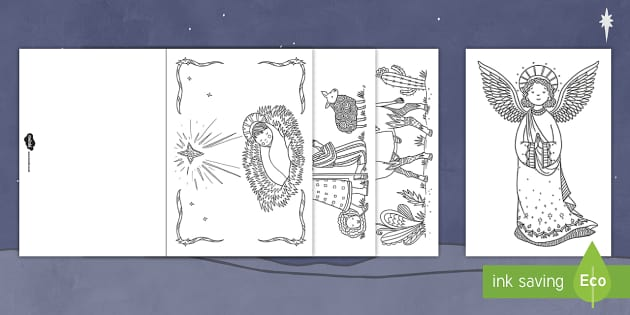 Mindfulness Coloring Nativity Christmas Cards Teacher Made