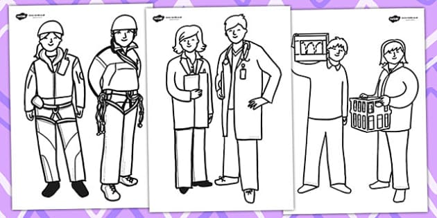 people who help us colouring sheets colour fine motor skills - Colouring Pictures Of People