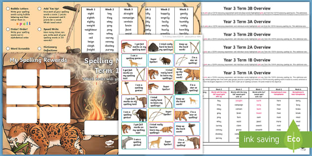 Year 3 Stone Age Themed Spelling Menu Pack teacher made